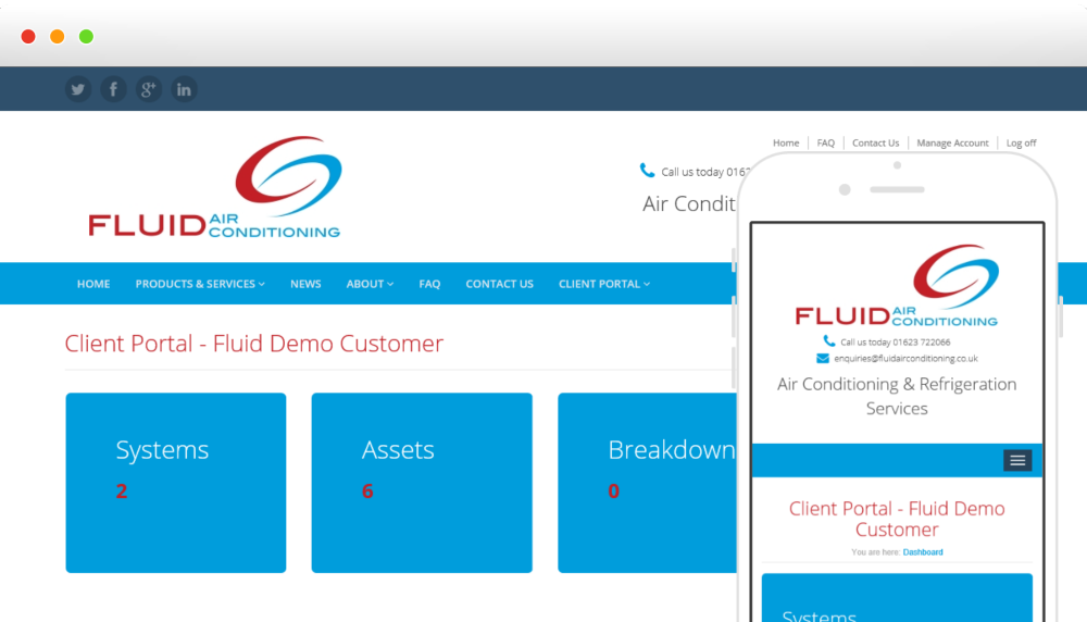 Fluid AC are happy to announce their new client web portal header image